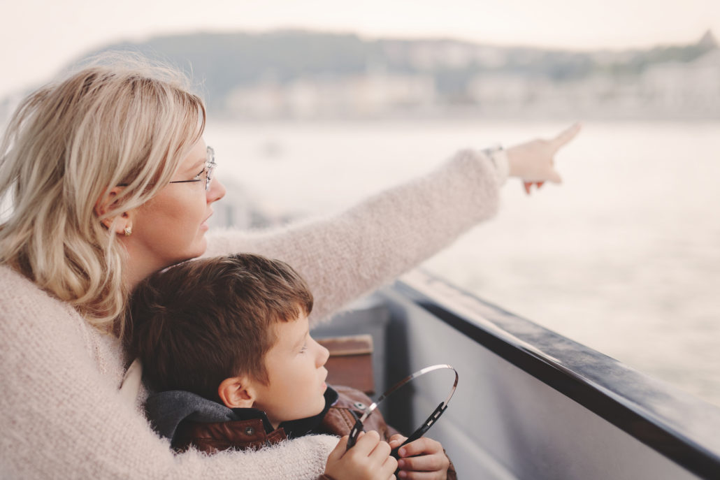 mother and son on a cruise