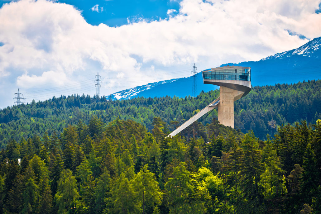 Alpine hills of Insbruck and olympic ski jump tower view