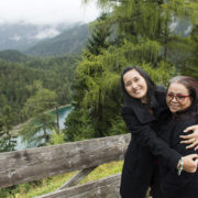 Thai women mother and daughter travel and posing at Blindsee of Tyrol, Austria