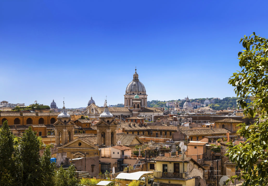 The domes and rooftops of the eternal city, the view from the Spanish steps. Rome