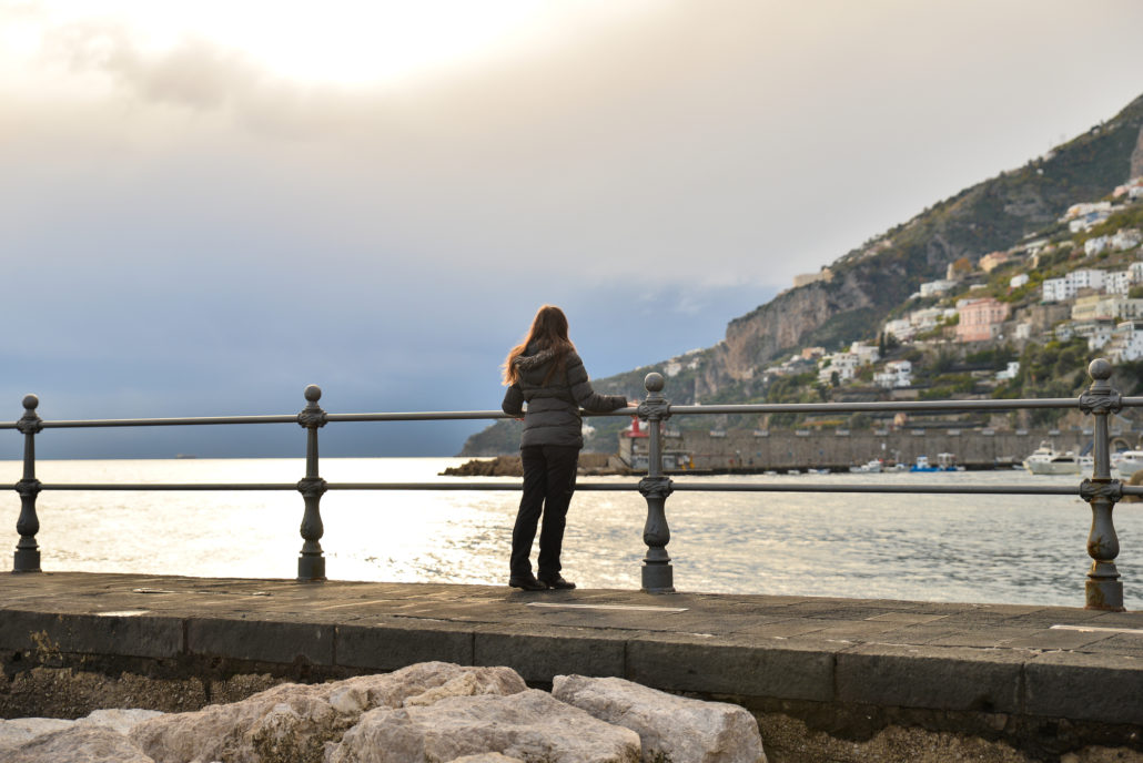 Girl on the Amalfi Caost, Italy during off season