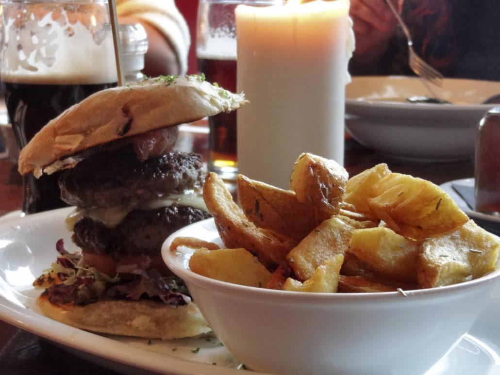 hamburger and potato wedges seen in Ireland