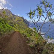 Rugged Coastline and Cliffs along the Kalalau Trail of Kauai, Hawaii. Oahu, islands.