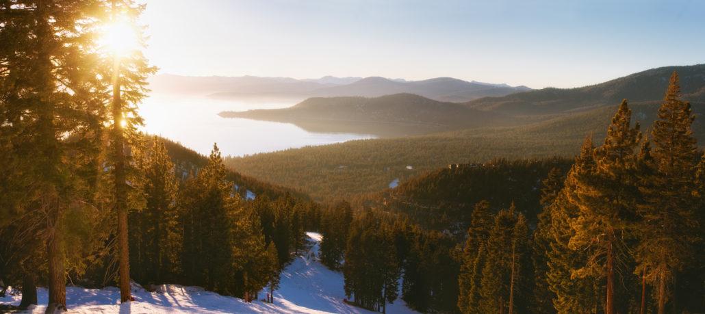 Sunset in lake tahoe ski resort