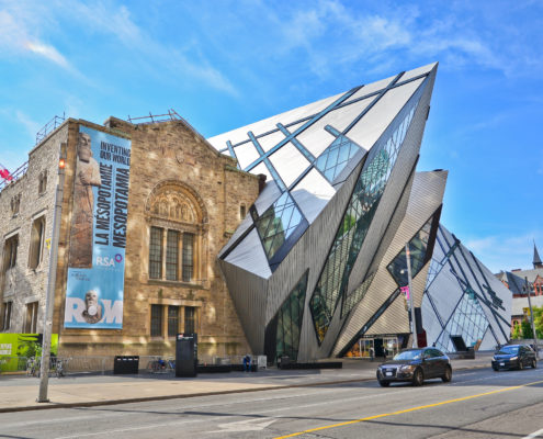 Royal Ontario Museum in a sunny day in Toronto. Exhibit, cityscape.