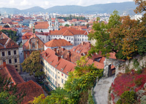 View of the old town center of Graz from the staircase of Schlossberg Hill. Graz, Austria.