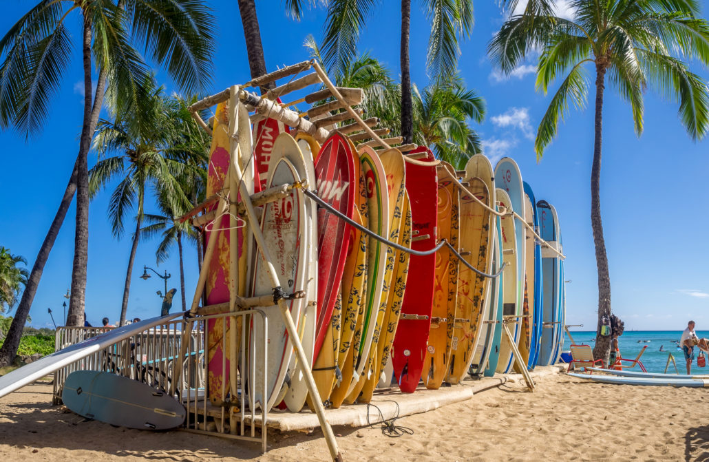 Surf rental shop on Waikiki beach