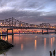 Louisville Bridges on Ohio River in Kentucky at sunset