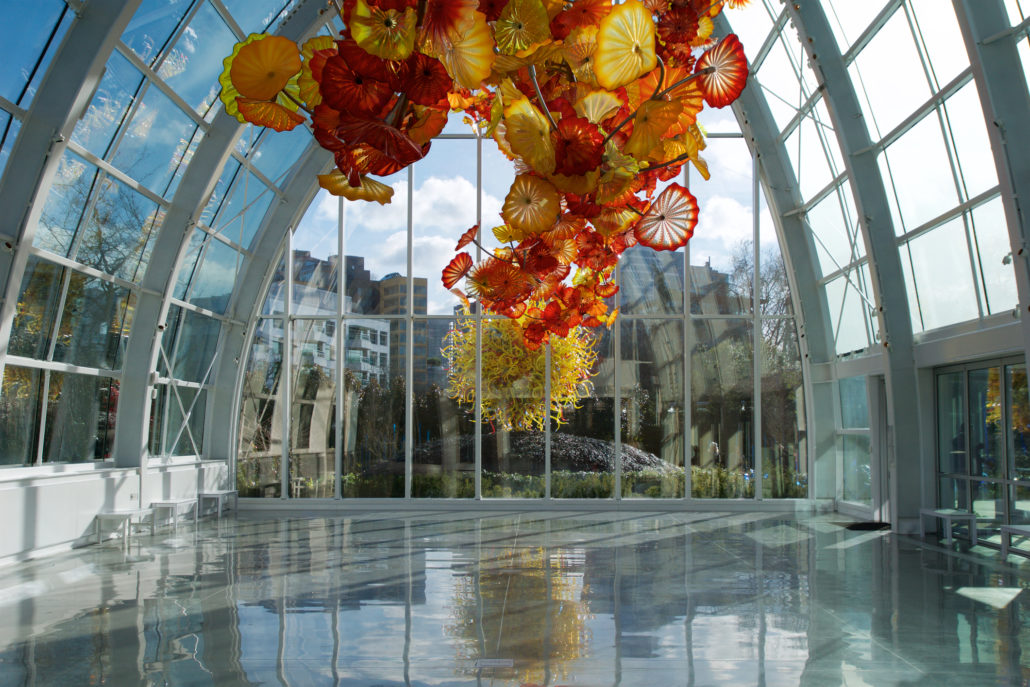 SEATTLE, WASHINGTON, USA - JAN 24th, 2017: Chihuly Garden and Glass museum featuring one of Dale Chihuly`s largest