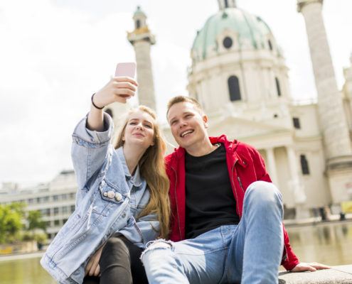 young teens taking self in Vienna, Austria