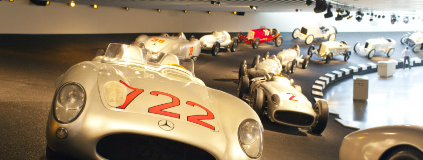 racing cars hall in Mercedes museum.