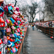 South Korea Padlocks wooden bridge path