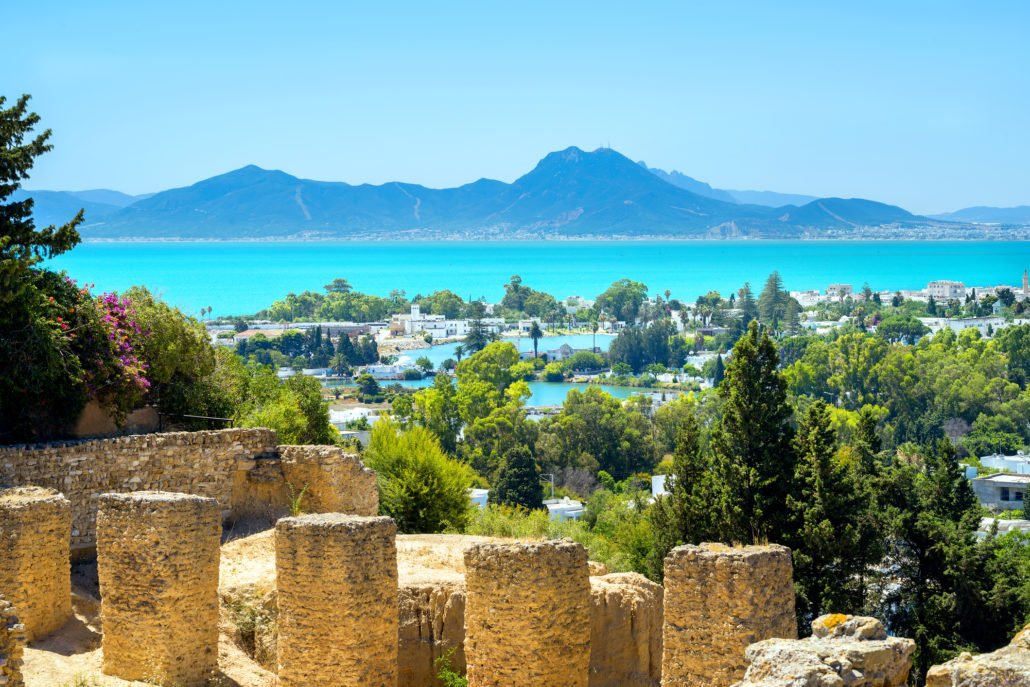 Ancient ruins of Carthage and seaside landscape. Tunis, Tunisia,