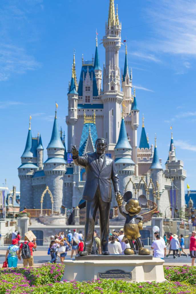 Disney World Orlando Florida Magic Kingdom Castle with Walt Disney and Micky Mouse