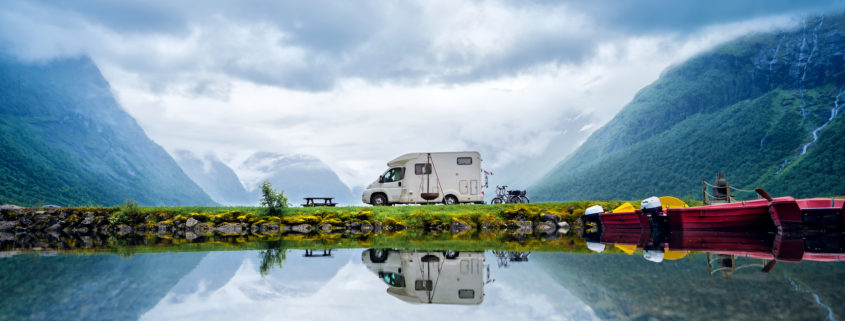 Family vacation travel RV, holiday trip in motorhome. Comfort, beautiful.
