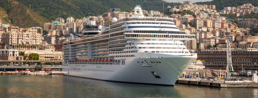 Cruise Ship at Dock in Genoa Italy