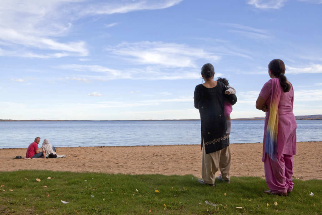 People on the beach, Alberta, Canada