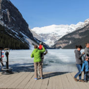 Tourists on banks of Lake Louise, Alberta, Canada