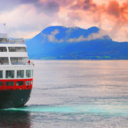Cruise ship on ocean in Norway