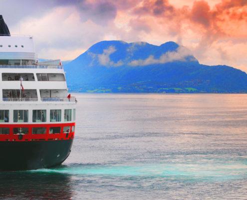 Cruise ship on ocean in Norway