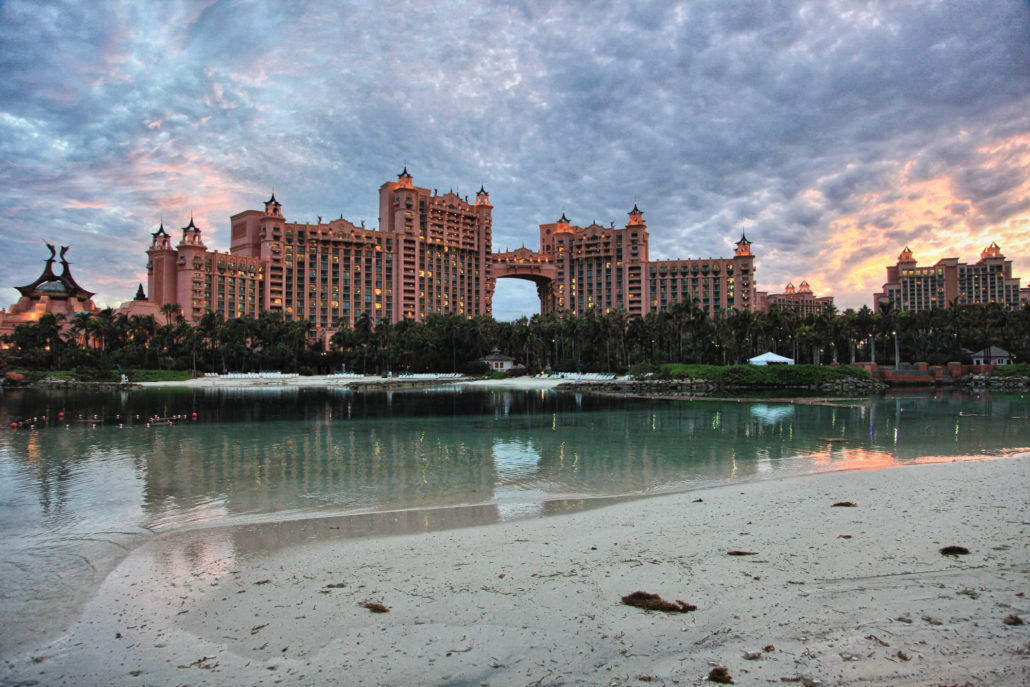 Cloudy sunset at Atlantis hotel, Paradise Island, Bahamas
