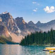 Boats in Moraine Lake near Lake Louise - Banff National Park - Canada