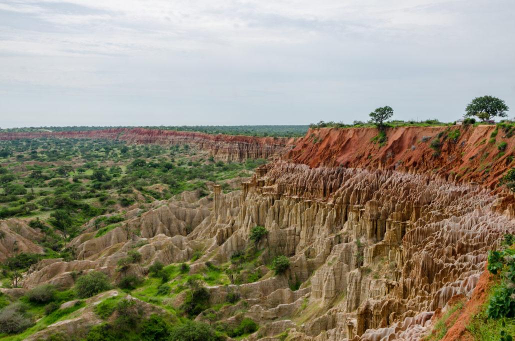 Natural phenomenon Miradouro da Lua or the Moon Landscape in Angola. Rock, climate.