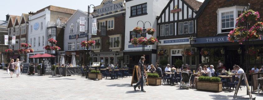 City of Salisbury Wiltshire England UK. Center restaurants.