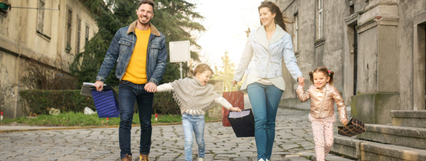family shopping and traveling