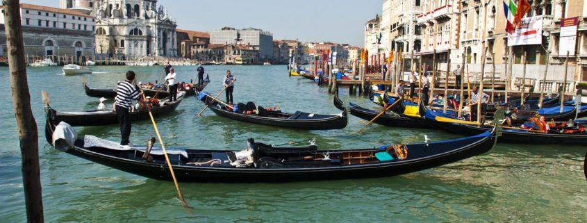 Italy, Venice, Gondola in the Grand Canal, San Marco vaporetto stop, Fondamenta D. Farini