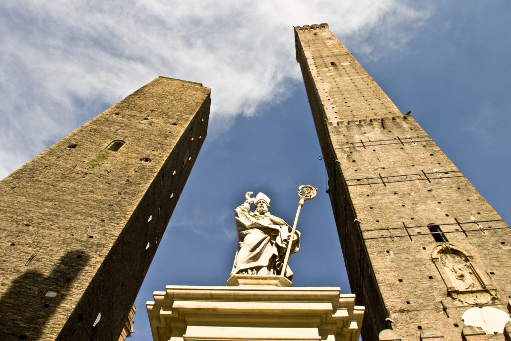 Asinella and Garisenda towers, Bologna's leaning towers