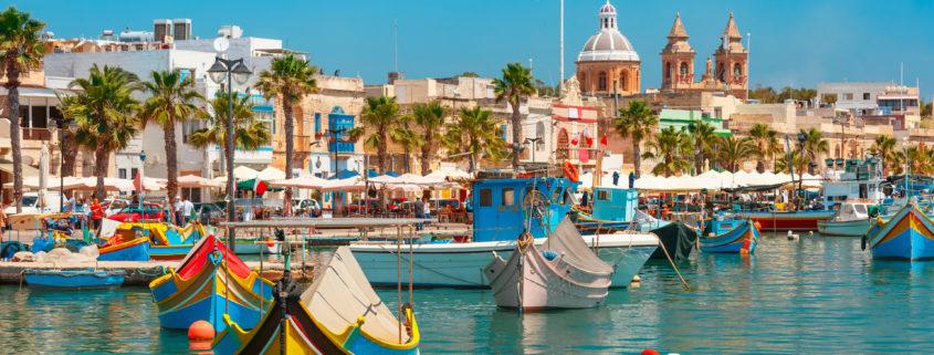 Taditional eyed boats Luzzu in Marsaxlokk, Malta