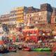 Ritual morning bathing at sacred Varanasi ghats,india