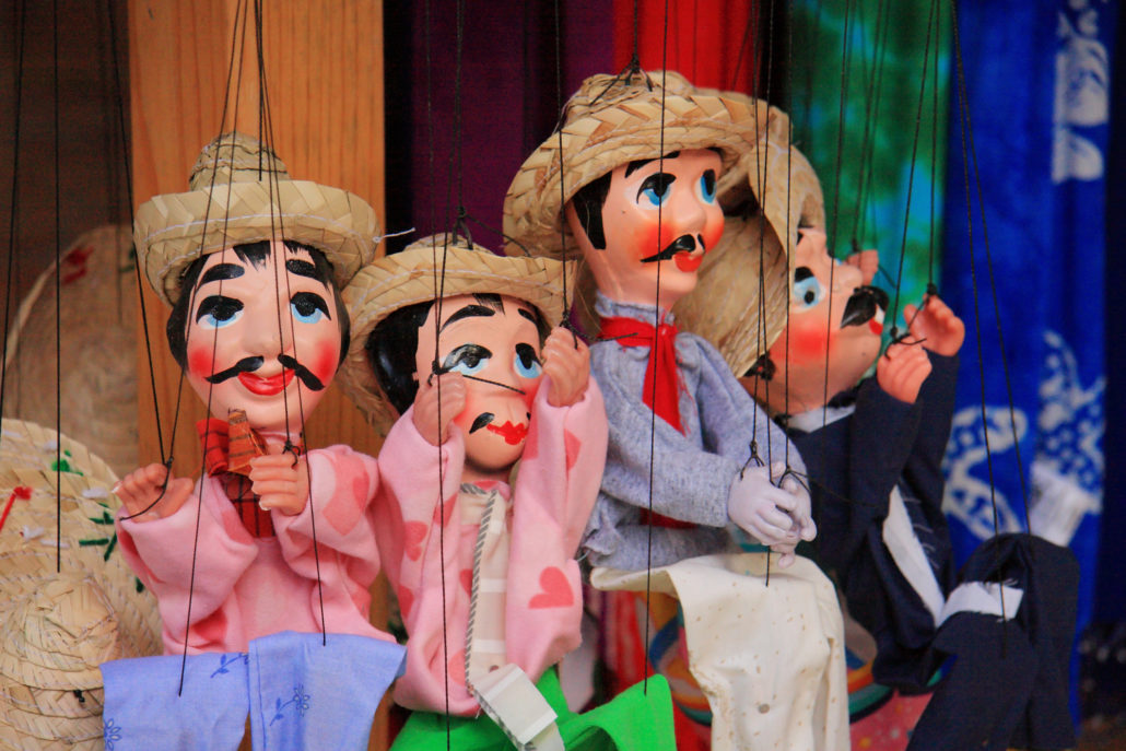 Antique Mexican puppets