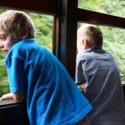 Boys traveling on Train