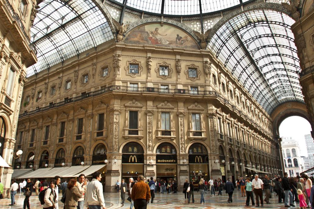 Italy, Milan, the Galleria, interior, shops,