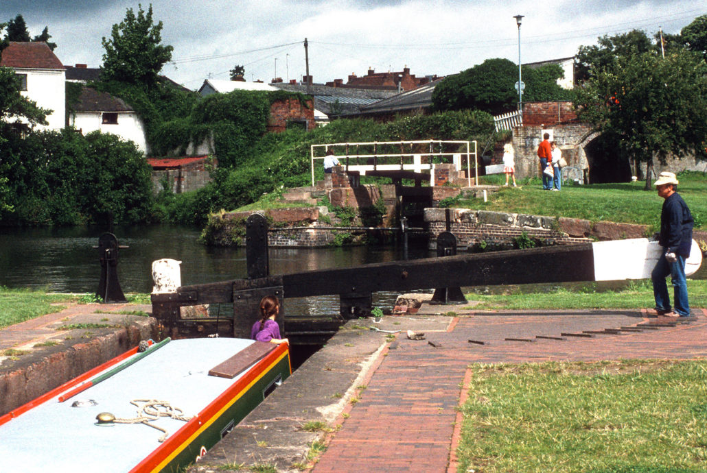 Great Britain, England, Canal boats on the Stourport Loop canal boat route at locks,Great Britain, England, Canal boats on the Stourport Loop canal boat route at locks,