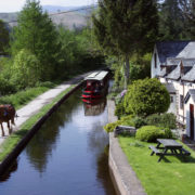 Great Britain, Wales, Canal boats on the Llangollen Canal, Pontcysylite Aqueduct