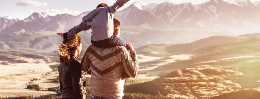 Happy family travel tourism mountains