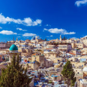 Roofs of Old City with Holy Sepulcher Church Dome, Jerusalem. Architecture, outdoo