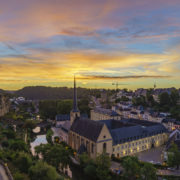 view of the Grund, Luxembourg. Aerial, cliff.