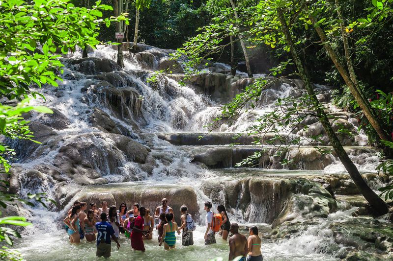 The Dunn`s River Falls are waterfalls in Ocho Rios in Jamaica,