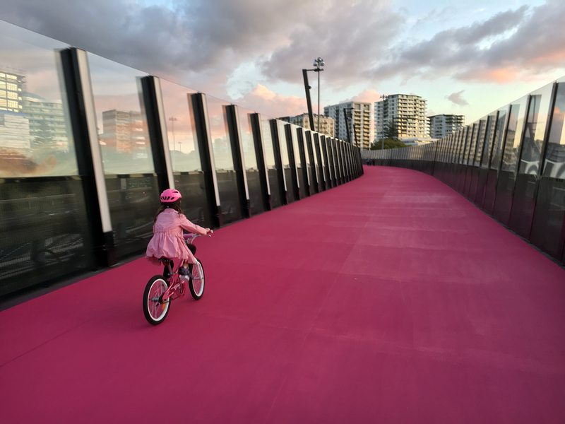 pink cycleway in Auckland New