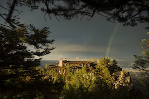 Guests were treated to a rainbow at the main lodge of The Broadmoor's Cloud Camp, Friday night, August 15, 2014, the first night for guests at the new wilderness retreat. The new property is perched on Cheyenne Mountain, 3,000 feet above The Broadmoor Hotel on the same spot as Spencer Penrose's Cheyenne Lodge of the 1920's.