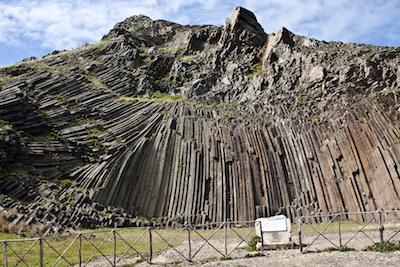 Portugal, Madeira, Porto Santo Island, Pico Ana Ferreira, volcanic, basalt, volcanoclastic, columnar structure, prisms,