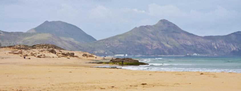 Portugal, Madeira, Island of Porto Santo, Ponta da Calheta, bar and restaurant, beach, seashore, volcanic rocks,