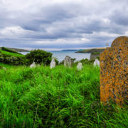 Headstones in a forgotten Irish Seaside Cemetery