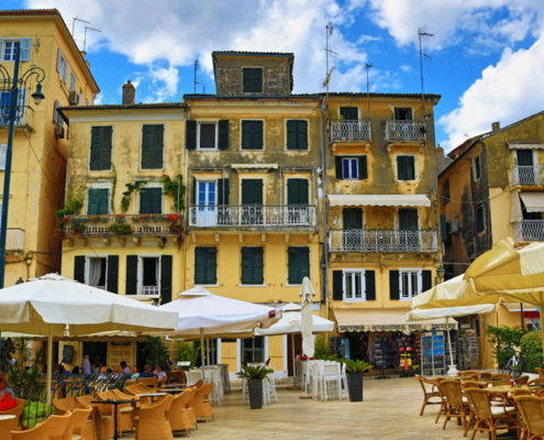 Corfu town summertime street view Greece