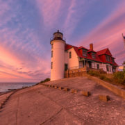 Sunset at Point Betsie Lighthouse near Frankfort Michigan