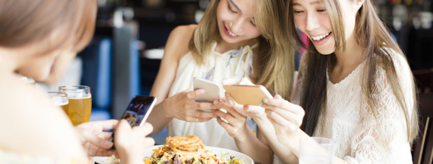 Friends on phones